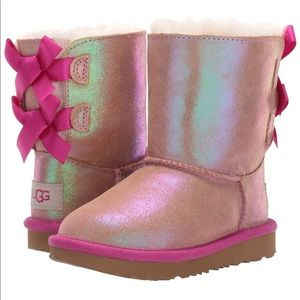 UGG Bailey Bow Shimmer Toddler Boots